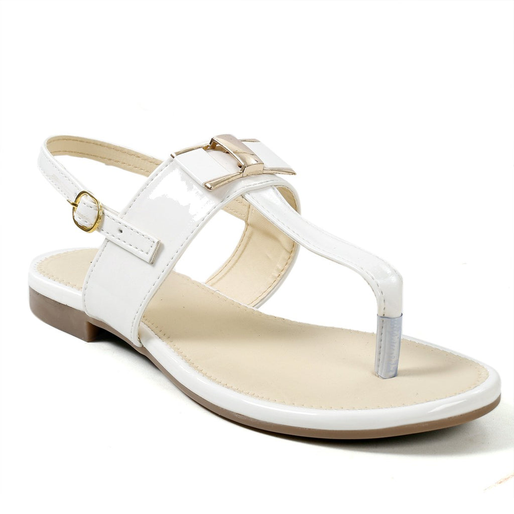 Buy  MARIGGIARE White Color Synthetic Leather Women Flat Sandals