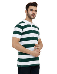 White And Dark Green Color Cotton Mens Tshirt - MPHWG006