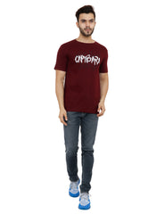 Maroon Color Cotton Mens Tshirt - MRHM004