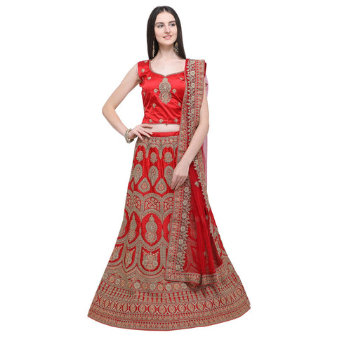 Red Color Naylon Satin Women's Semi-Stitched Lehenga Choli - MIMDV1A9001DP