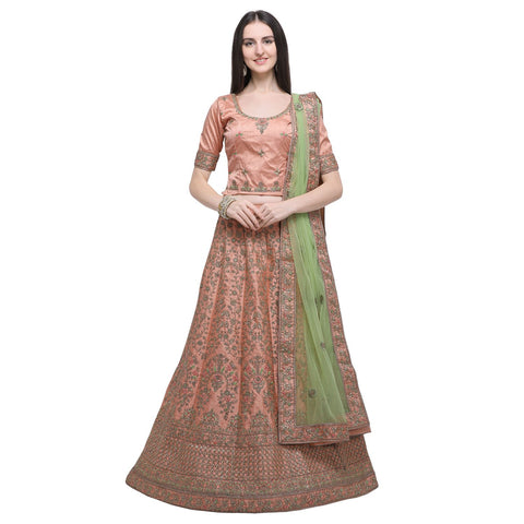 Peach Color Timo Silk Women's Semi-Stitched Lehenga Choli - MIMDV1A9002DP