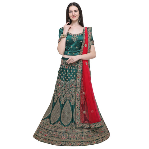 Dark Green Color Naylon Satin Women's Semi-Stitched Lehenga Choli - MIMDV1A9003DP