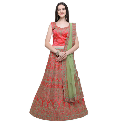 Gajari Color Naylon Satin Women's Semi-Stitched Lehenga Choli - MIMDV1A9005DP
