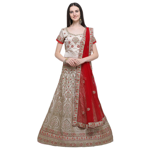 Beige Color Naylon Satin Women's Semi-Stitched Lehenga Choli - MIMDV1A9006DP