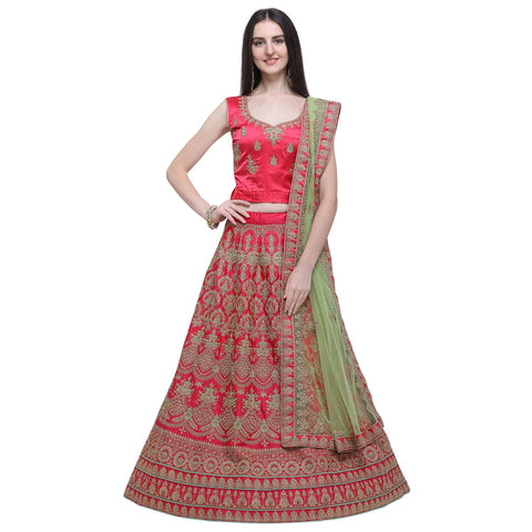 Pink Color Naylon Satin Women's Semi-Stitched Lehenga Choli - MIMDV1A9007DP