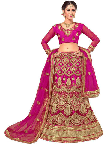 Megenta Color Net Embroidered Women's Semi-Stitched Lehenga Choli - MISCLGA3002