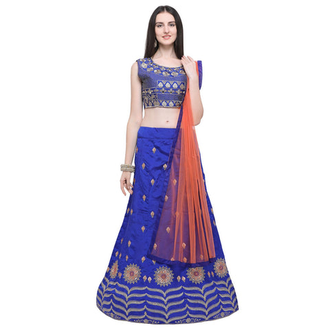 Blue Color Taffeta Silk Women's Semi-Stitched Lehenga Choli - MKLRA8001BLUEDP