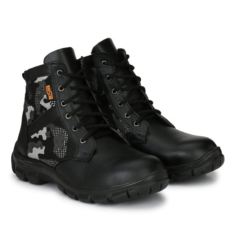 Black Color Synthetic Men's Shoe - MLM18-Black