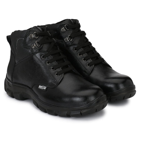 Black Color Leather Men's Shoe - MLM20-Black
