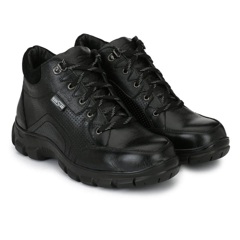 Black Color Leather Men's Shoe - MLM22-Black