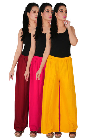 Pack Of 3 Rayon Palazzos - MM1Y