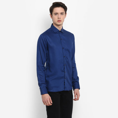 Navy Color Cotton Men's Solid Shirt - MMS001