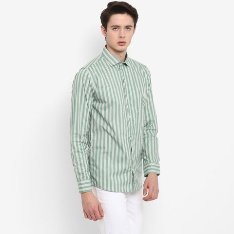 White and Greeen Color Cotton Men's Strips Shirt - MMS002