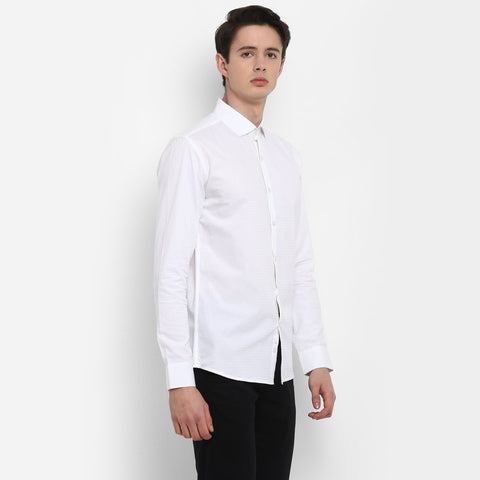 White Color Cotton Men's Solid Shirt - MMS003