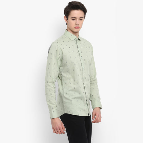 Green Color Cotton Men's Printed Shirt - MMS004