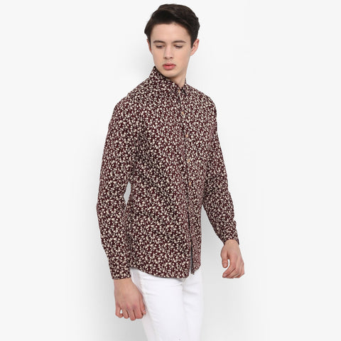 Maroon Color Cotton Men's Floral Shirt - MMS005