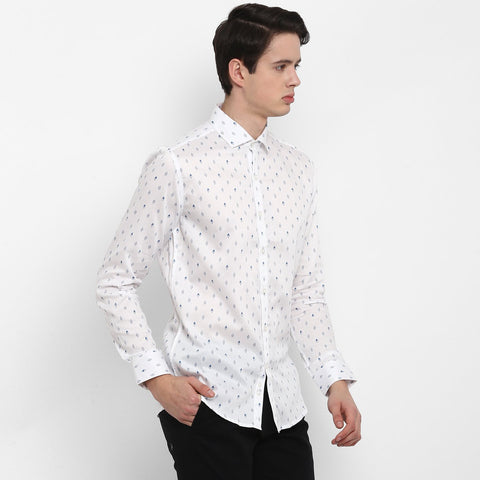White Color Cotton Men's Printed Shirt - MMS006