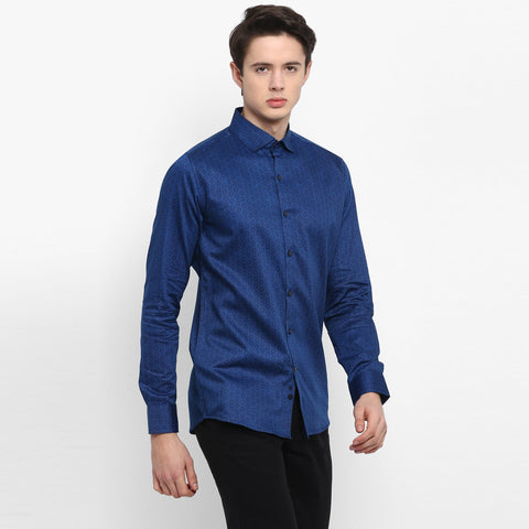 Navy Color Cotton Men's Printed Shirt - MMS008