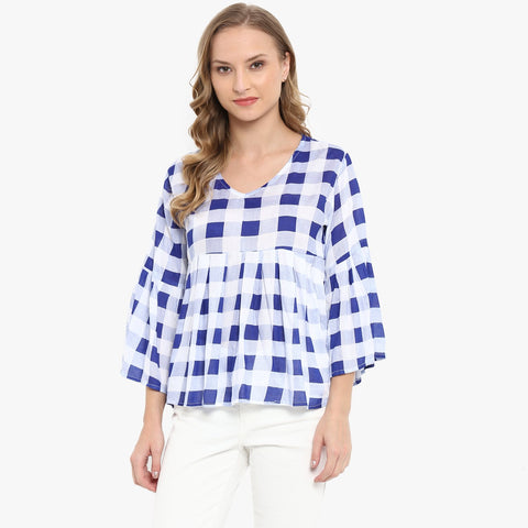 Blue White Color Rayon Womens Tops - MMT002-B-S