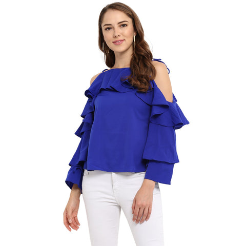Blue Color Rayon Womens Tops - MMT006-B