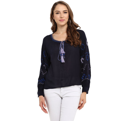 Navy Color Rayon Womens Tops - MMT008-B