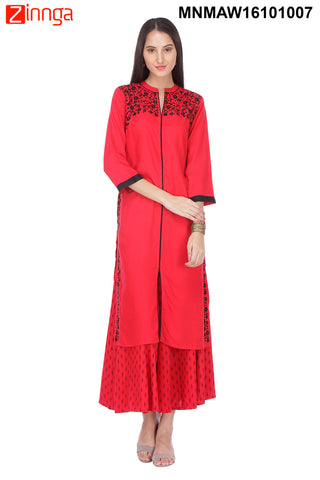 Red and Black Color Rayon Stitched Kurti - MNMAW16101007
