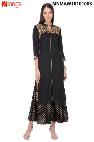 Black and Gold Color Rayon Stitched Kurti - MNMAW16101008