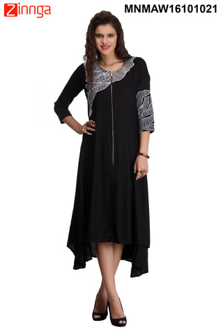 Black and White Color Rayon Stitched Kurti - MNMAW16101021