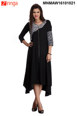 Black and White Color Rayon Stitched Kurti