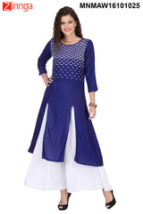 Royal Blue Color Rayon Stitched Kurti