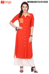Red Color Rayon Stitched Kurti