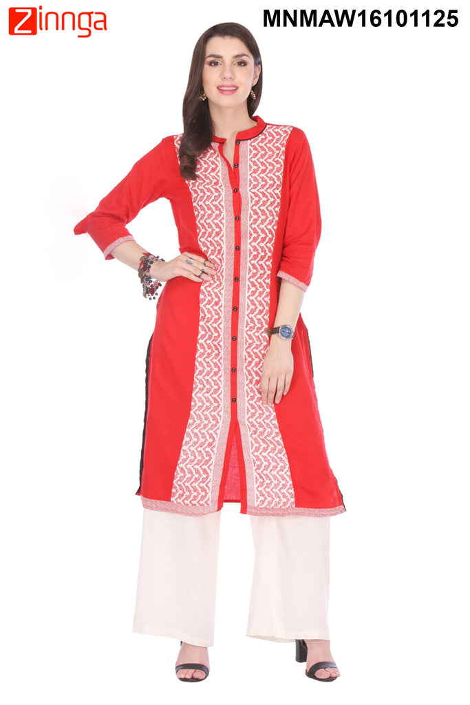 Red Color Flex Rayon Stitched Kurti