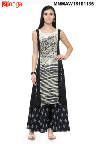 Black and White Rayon Color Stitched Kurti - MNMAW16101135