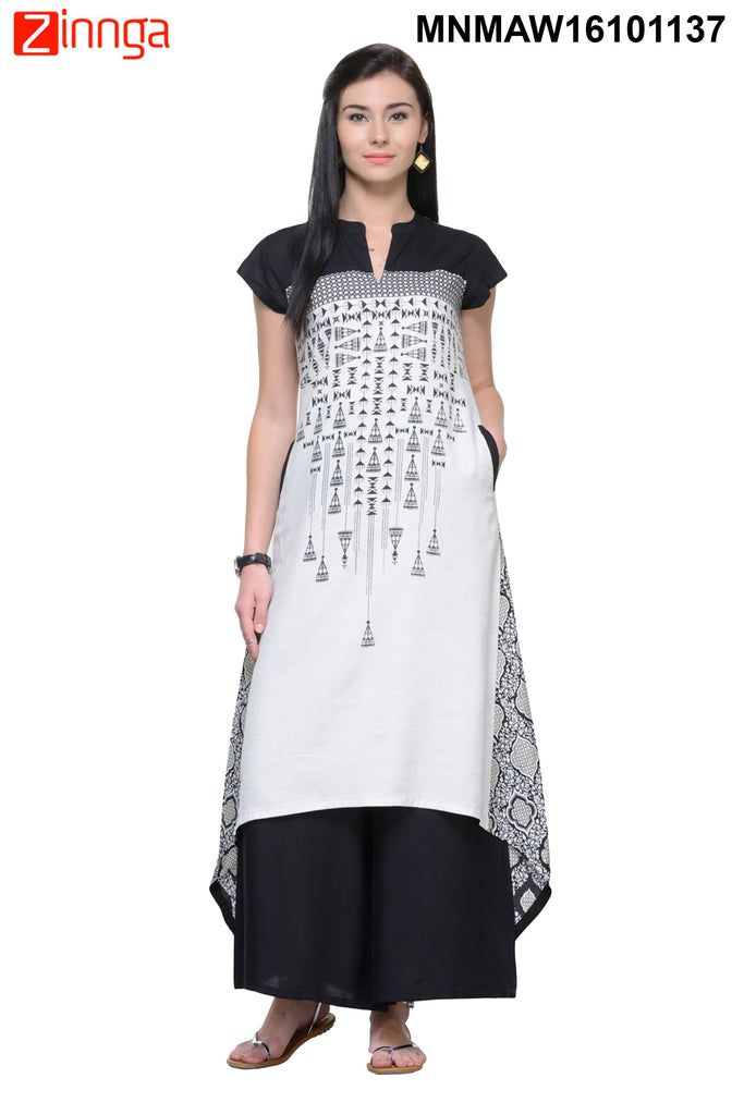 Black and White Rayon Color Stitched Kurti