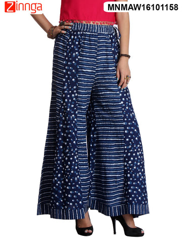 NAVY BLUE COLOR RAYON PLAZO - MNMAW16101158