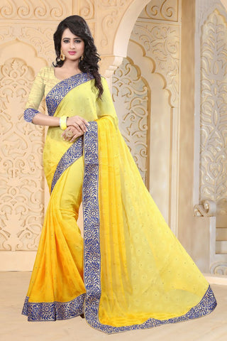 Yellow Color Jacquard Paddind Saree - MOH-MAYA-1152
