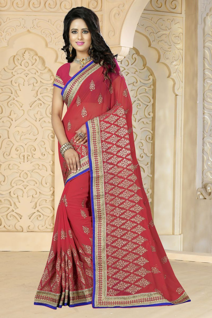 Gajari Color Georgette Saree