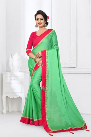 Green Color Silk Satin Saree - MONTHAN-1115