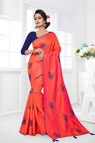 Orange Color Zoya Silk Saree - MONTHAN-1121