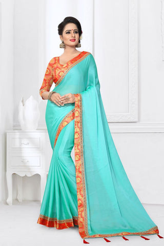 Blue Color Silk Satin Saree - MONTHAN-1124