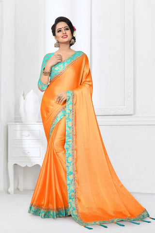 Yellow Color Silk Satin Saree - MONTHAN-1125