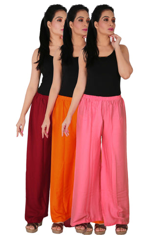 Pack Of 3 Rayon Palazzos - MOP2