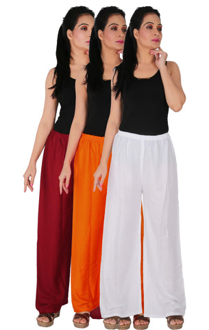 Pack Of 3 Rayon Palazzos - MOW