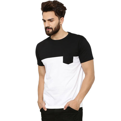 Black Color Cotton Men's Tshirt - MP-POC-BLK
