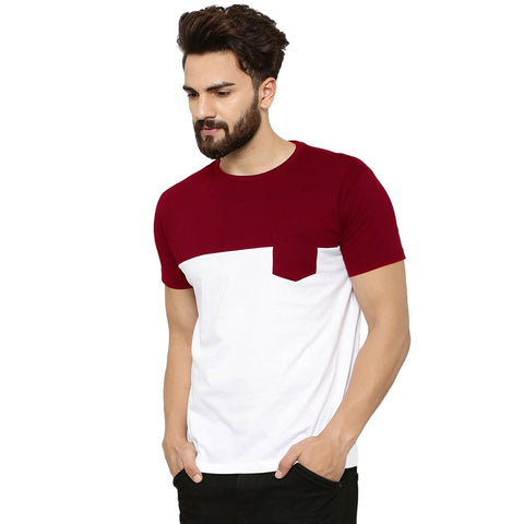 Maroon Color Cotton Men's Tshirt - MP-POC-MRN