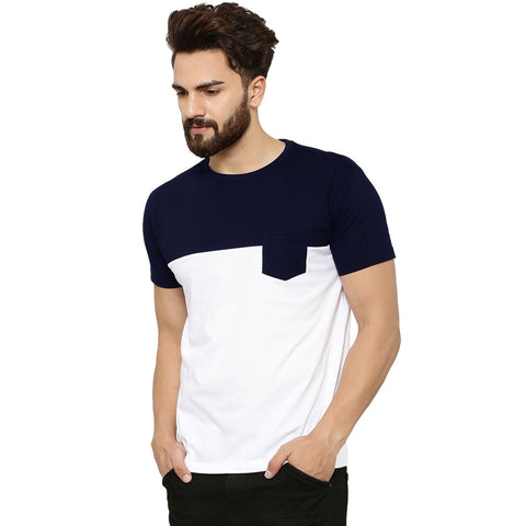 Navy Blue Color Cotton Men's Tshirt - MP-POC-NVY