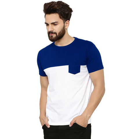 Blue Color Cotton Men's Tshirt - MP-POC-RYL