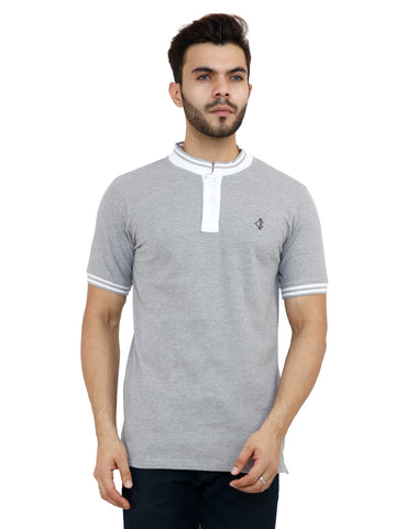 Grey Color Cotton Mens Tshirt - MPHG005