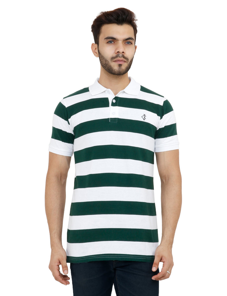 Buy White And Dark Green Color Cotton Mens Tshirt