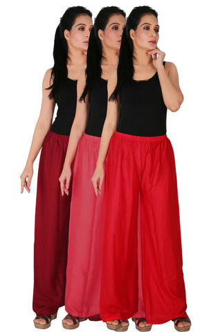 Pack Of 3 Rayon Palazzos - MPR